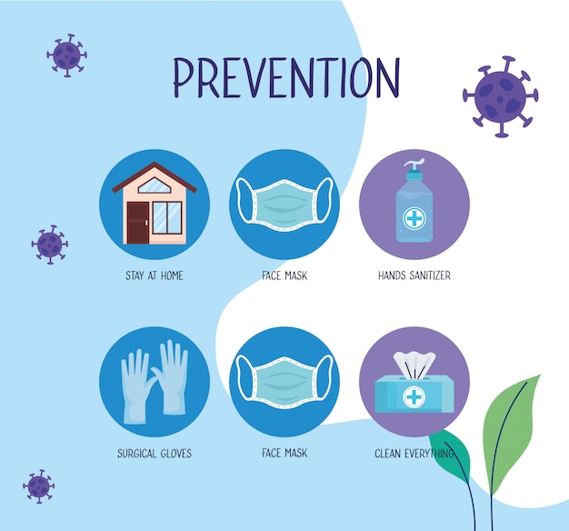 Covid19-pandemie-infografik mit präventionsmethoden