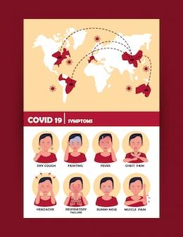 Covid19-partikel mit erdkarten und symptomen