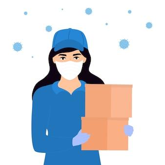 Covid19. quarantäne in der stadt. coronavirus epidemie. kurier mädchen in einer medizinischen schutzmaske hält ein paket in den händen. kostenlose lieferung von lebensmitteln. zu hause bleiben