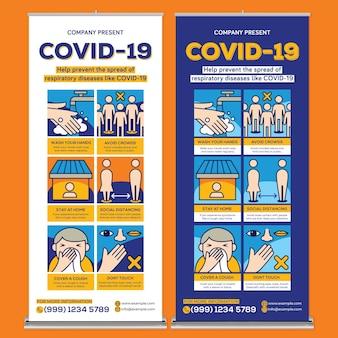 Covid19 roll-up-banner-druckvorlage im flachen design-stil