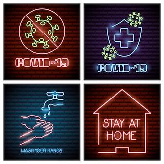 Covid19 vier set lichter symbole