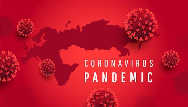 Covon-19-konzept für coronavirus-infektionen. globale europakarte mit roten 3d-viruszellen
