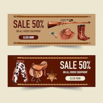 Cowboy banner mit waffe, hut, stiefel