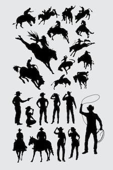 Cowboy cowgirl und rodeo sport silhouette