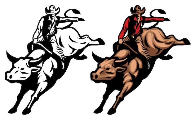 Cowboy, der den verärgerten stier reitet