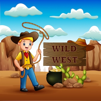 Cowboy, der ein lasso im hintergrund des wilden westens wirbelt