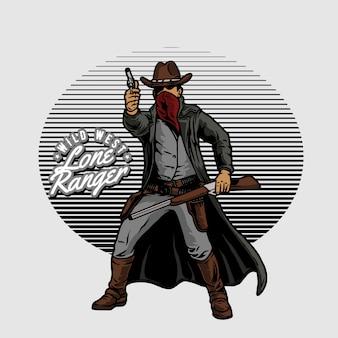 Cowboy hält eine waffe