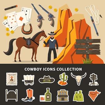 Cowboy icons sammlung