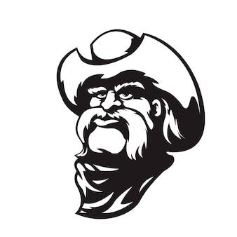 Cowboy im schwarz-weiß-stil