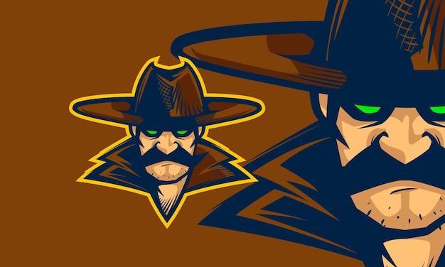 Cowboy-kopf-karikatur premium-vektor-maskottchen-illustration