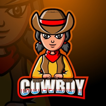 Cowboy maskottchen esport illustration