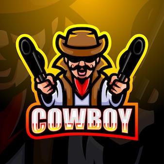 Cowboy maskottchen esport illustration