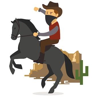Cowboy mit pferd in der wüste
