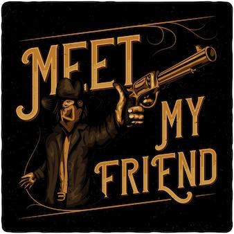 Cowboy mit pistole.