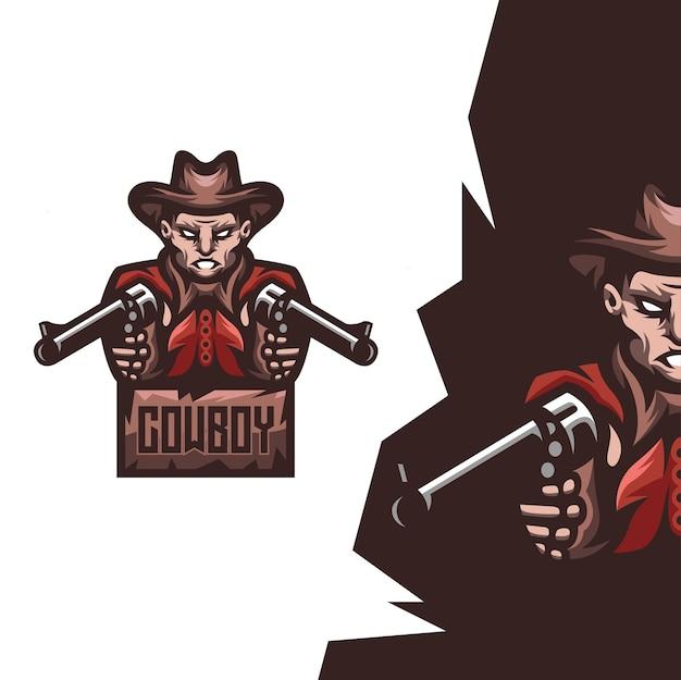 Cowboy mit waffenmaskottchenillustration