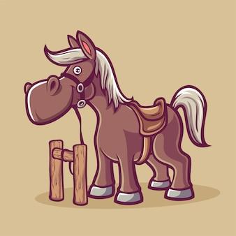 Cowboy-pferdekarikatur brown-lächeln