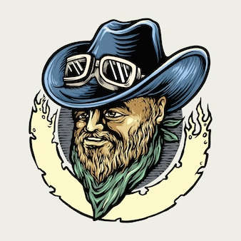 Cowboy riders man maskottchen illustrationen