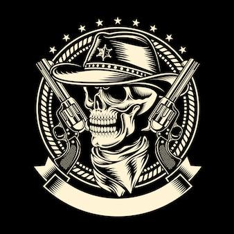Cowboy-schädel mit handfeuerwaffen
