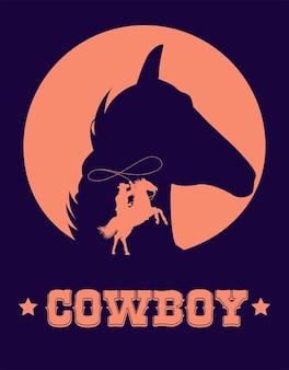 Cowboy-schriftzug im wild-west-plakat mit cowboy-lasso und pferdekopf