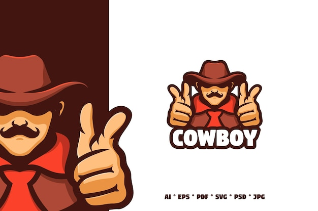 Cowboy-sheriff-maskottchen-logo-illustration