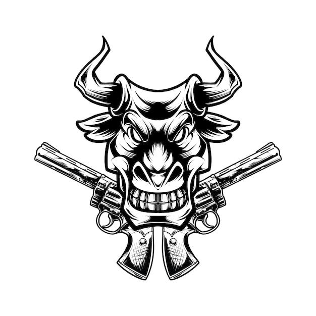 Cowboy-stierillustrationskonzept
