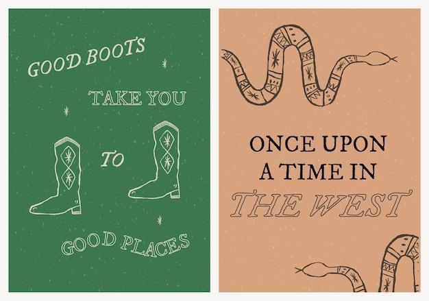 Cowboy themenorientierter plakatvorlagenvektor mit bearbeitbarem textsatz text