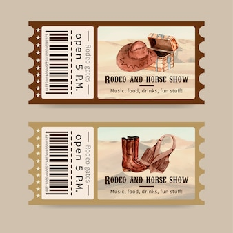 Cowboy ticket mit brust, hut, stiefel, weste