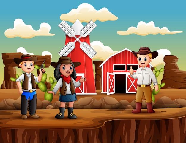 Cowboy und cowgirl auf dem hintergrund des bauernhofes