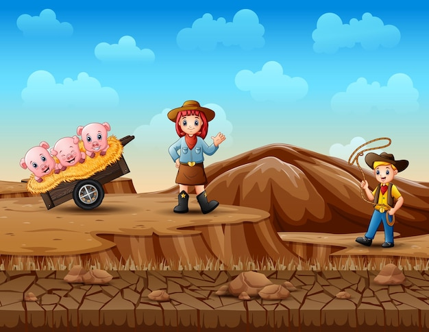 Cowboy und cowgirl hüten schweine in der wüste