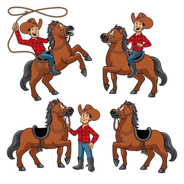 Cowboy- und pferdeset