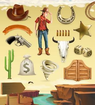 Cowboy, zeichentrickfigur und objekte. westliches abenteuer