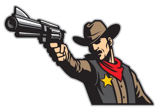 Cowboy zielt mit der waffe