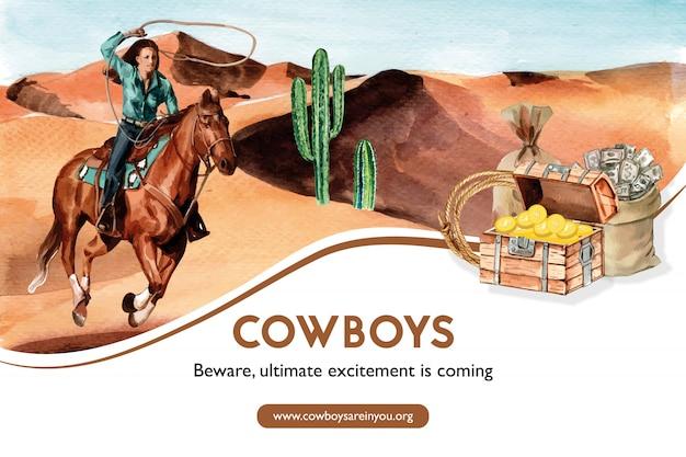 Cowboyfeld mit frau, pferd, kaktus, kasten