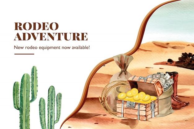 Cowboyfeld mit kasten, kaktus, geld