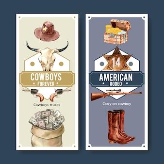 Cowboyflieger mit kuhschädel, gewehr, geld, kasten, abzeichen