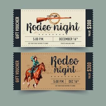 Cowboykarte mit pferd, gewehr