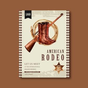 Cowboyplakat mit scharfschützen, stiefeln, seil