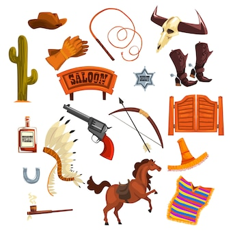 Cowboys zubehör und symbole illustrationen auf einem weißen hintergrund