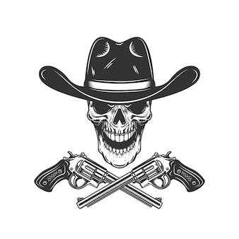 Cowboyschädel mit gekreuzten revolvern. gestaltungselement für plakat, karte, etikett, zeichen, karte, fahne. bild
