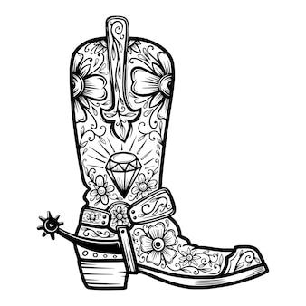 Cowboystiefel mit blumenmuster. gestaltungselement für poster, t-shirt, emblem, zeichen.