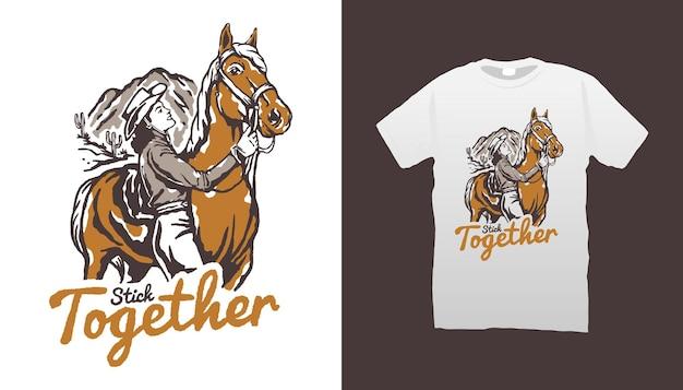 Cowgirl- und pferdeillustration