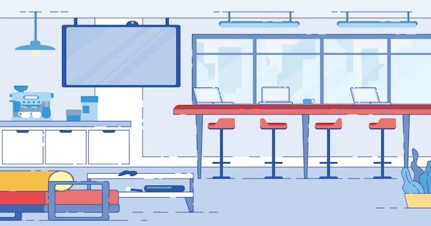 Coworking area, open space loft mit computern
