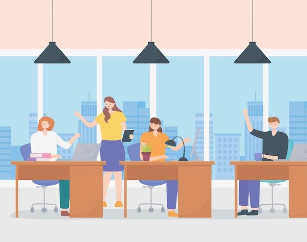 Coworking, büroangestellte, die mit laptop und computer arbeiten.