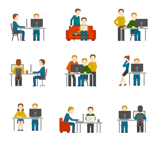 Coworking center icons
