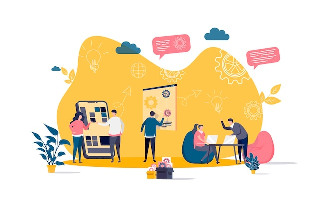 Coworking flaches konzept mit personencharakterillustration