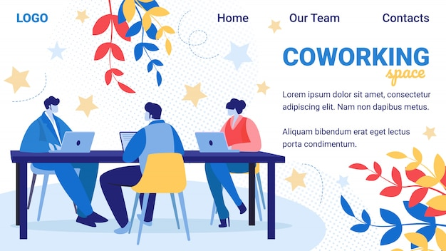 Coworking-gruppe der kreativen mann-und frauen-fahne