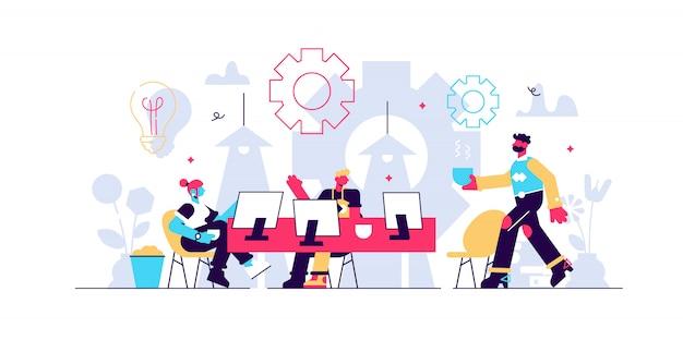 Coworking illustration. stilisierte fahne mit personen, die büro teilen. selbstgesteuerter, kollaborativer, flexibler und freiwilliger arbeitsstil für hipster und freiberufler. modernes brainstorming und reden.