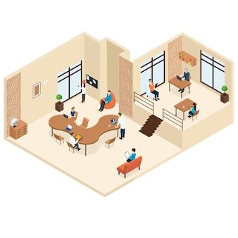 Coworking isometric center-konzept