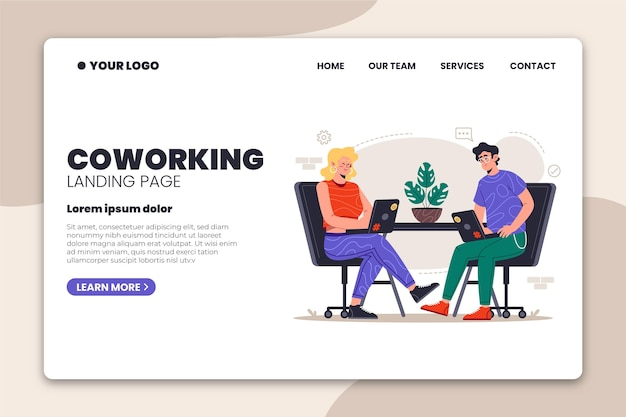 Coworking landing page für zwei personen