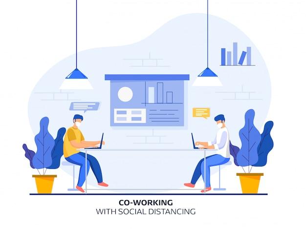 Coworking men tragen am arbeitsplatz eine schutzmaske mit sozialer distanz und präsentationstafel auf weißem hintergrund. vermeiden sie coronavirus.
